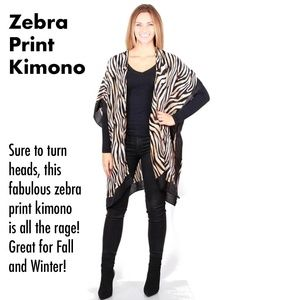 Zebra print Kimono Black White Tan ONLY 1 LEFT